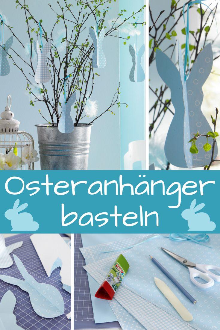 Die dreidimensionalen Hasen-Anhänger baumeln fröhlich in dem Osterstrauß aus zartem Grün. Wie du die Osteranhänger bastelst, zeigen wir Schritt für Schritt in dieser Bastelanleitung!  #ostern #osterdeko #osterhase #easter #easterbunny #basteln #bastelidee #bastelanleitung