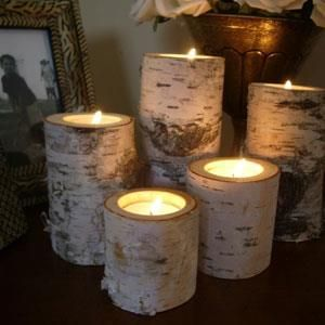 """Birch Log Candle Holders // """"Recycled Home Decor For Fall"""""""