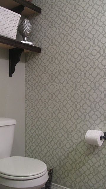 Grey and White bathroom  Stenciled Wall   shelves above toilet    bathroom  #  -…   – Shelves recipes
