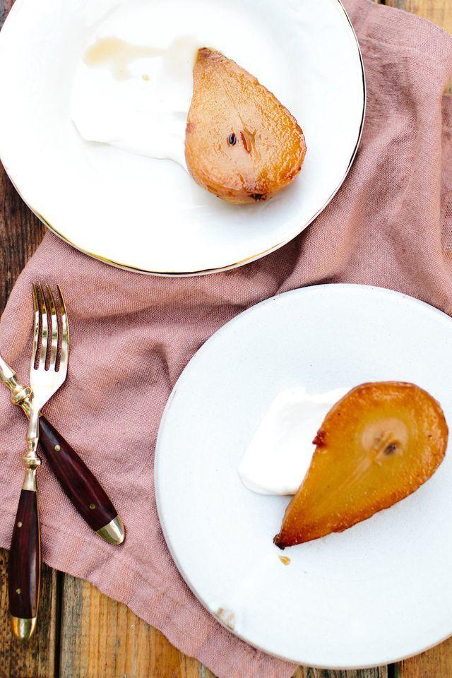 Tea Poached Pears With Crème Fraîche