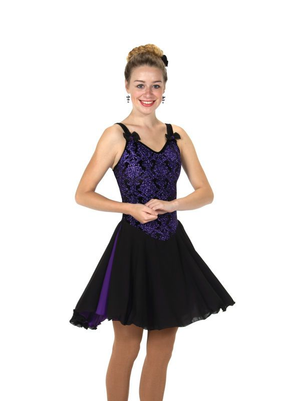 New Jerrys Competition Skating Dress 121 Rows of Bows Purple Black Made on Order | eBay