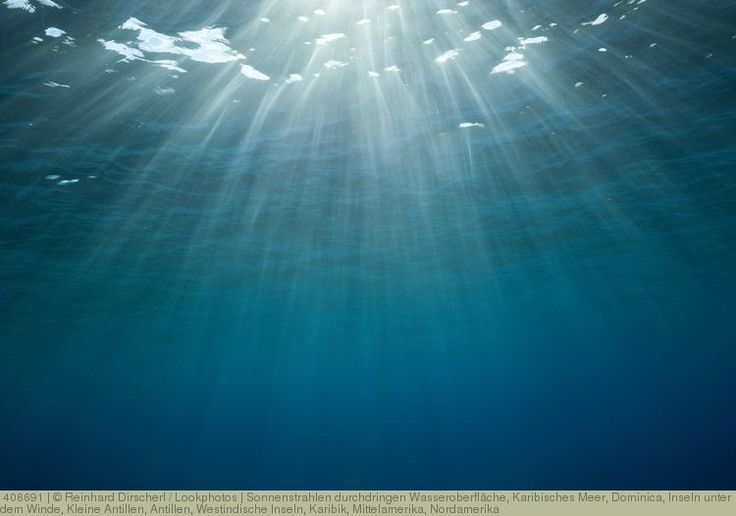 Sonnenstrahlen durchdringen Wasseroberfläche, Karibisches Meer, Dominica, Inseln unter dem Winde, Kleine Antillen, Antillen, Westindische Inseln, Karibik, Mittelamerika, Nordamerika
