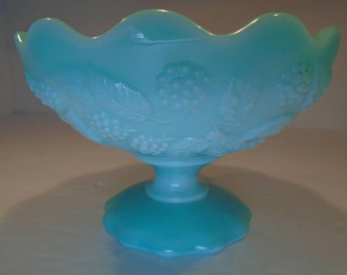 """Rare Fostoria Aqua Blue Milk Glass 5"""" Berry Bowl"""