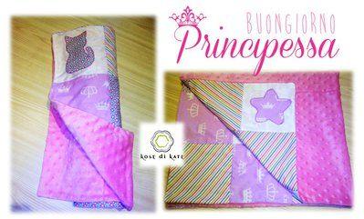 "Sweet Princess Blanket, patchwork and Minky fabric  ""Kose di Kate "" Copertina Principessa in Ptchwork e tessuto Minky"