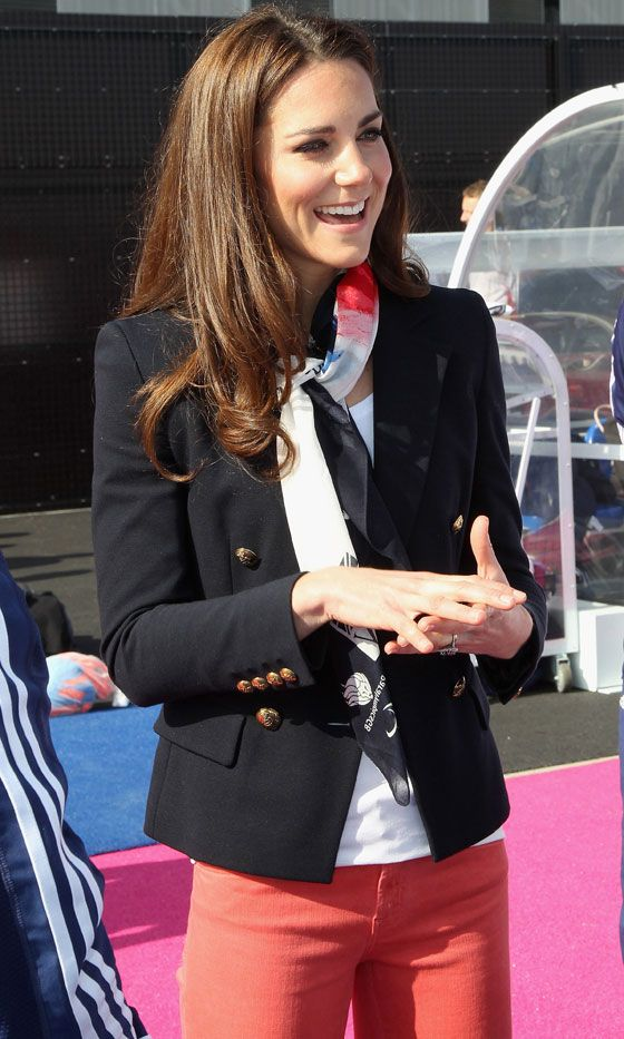 Kate Middleton Accessorieses With A Blazer And Scarf - Great Styling Trick, 2012