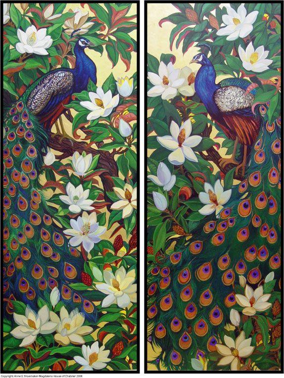 Peacocks and Magnolia Blossoms by HouseofChabrier.deviantart.com on @deviantART