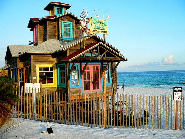 Destin, FL - Pompano Joe's.  My favorite restaurant in Destin.  It will make anyone love calamari.  It has been rebuilt since the hurricane.  The deck and front porch are missing in this picture.