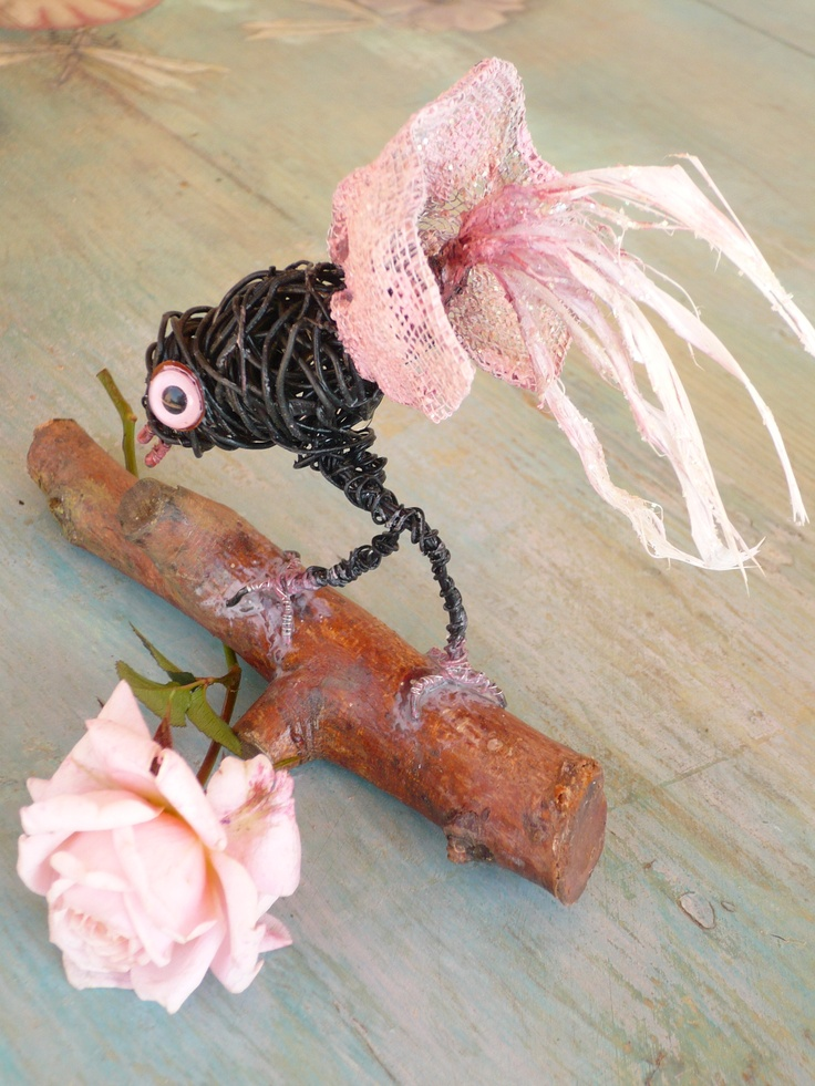 Wire &Feathers; !!! Handmade whimsical bird !