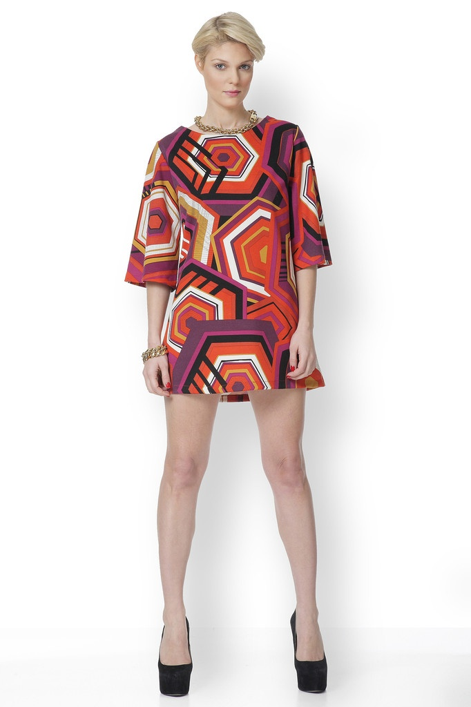 Φόρεμα με έντονα γεωμετρικά print με χαρούμενο φωτεινό πορτοκαλί και κόκκινο!!!