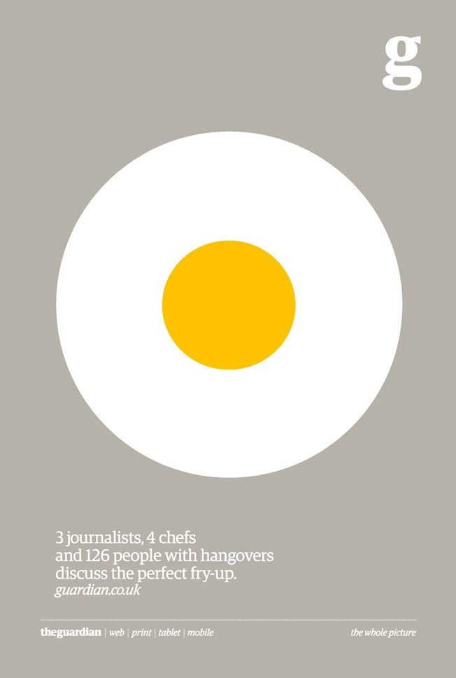 "The Guardian's ""The Whole Picture"" campaign   Agency: BBH   ""3 journalists, 4 chefs and 126 people with hangovers discuss the perfect fry-up"""