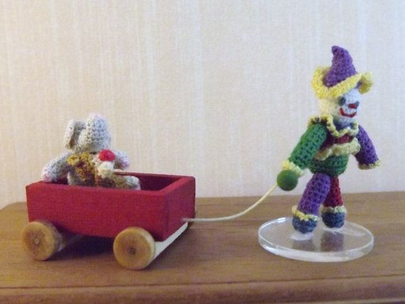 Clown Pulling Wagon Hand Crocheted Sock Monkey Elephant