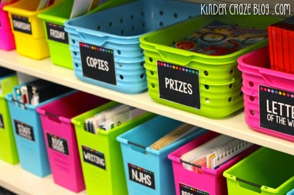 Organize your teacher materials with Classroom Supply Labels. Check out this kindergarten teacher keeps her space organized! Black and neon
