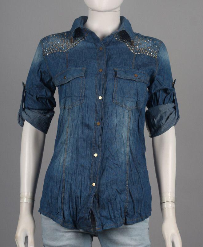 Camicia donna di jeans with borchie B2B-PE14D05RF609