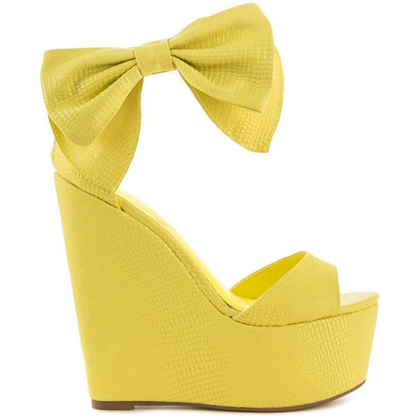 Privileged Women's Lindsey - Yellow (295 MYR) ❤ liked on Polyvore featuring shoes, heels, wedges, yellow, patterned shoes, print shoes, platform shoes, yellow wedge shoes and wedge heel platform shoes