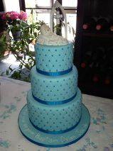 Blue sugar drages on fondant. Boys christening cake. Blue on blue.