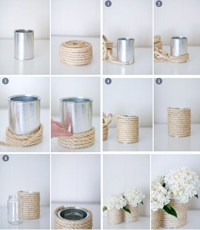 Zurückeroberte Vase im Landhausstil in einer Blechdose, gekleidet mit …