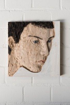 "Stephan Balkenhol, ""Little relief of a head"", 2013, Coloured poplar,"