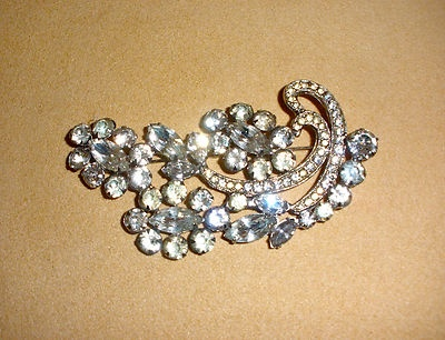 Large Prong Set Rhinestone Pin Broach by Kramer of New York | eBay