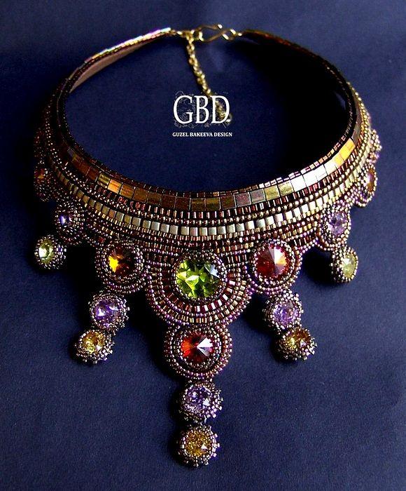 Guzel Bakeeva Necklace with oho beads and swarovski crystals
