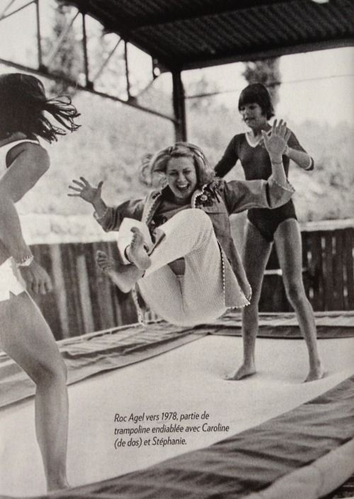 Grace Kelly doing trampolining with her daughters  http://www.tumblr.com/blog/oeuf-nyc#