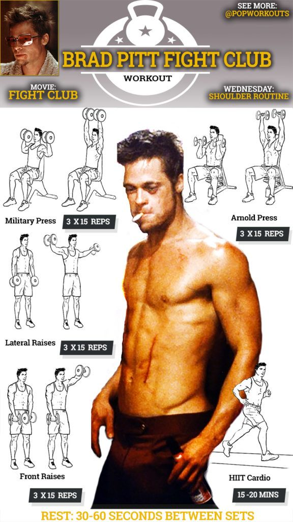 Brad Pitt Fight Club Workout Shoulder Wednesday Routine