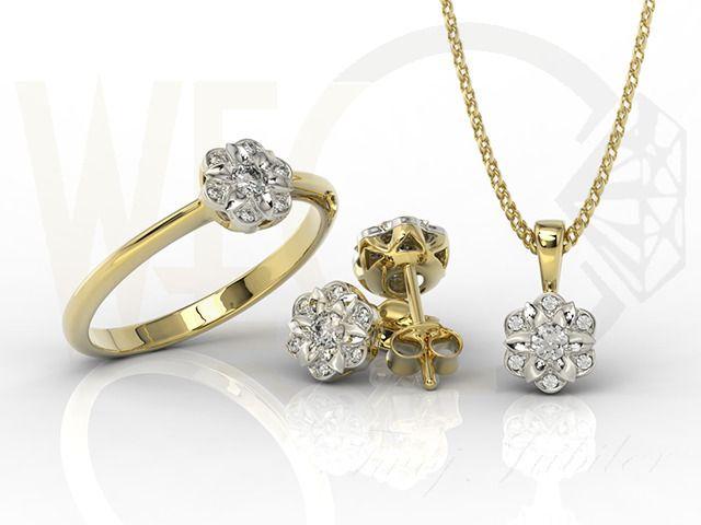 Komplet biżuterii z białego i żółtego złota z diamentami/ Jewellery set made from yellow and white gold with diamonds/ 5 132 PLN #jewellery #jewelleryset #gold #diamonds #gift