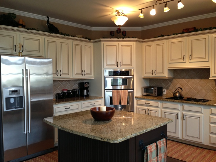 My dream kitchen, at last!; Painted maple cabinets antique white