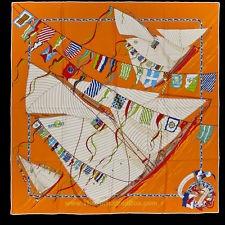 Authentic Hermes Scarf CLAQUE AU VENT Vintage Silk 70 CM Vintage Silk Orange