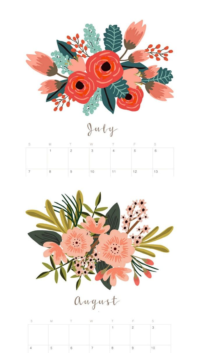 free printable 2019 monthly calendars