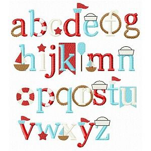 Nautical Font Comes in embroidery lowercase letters a-z.                                                                                                                                                                                 Más