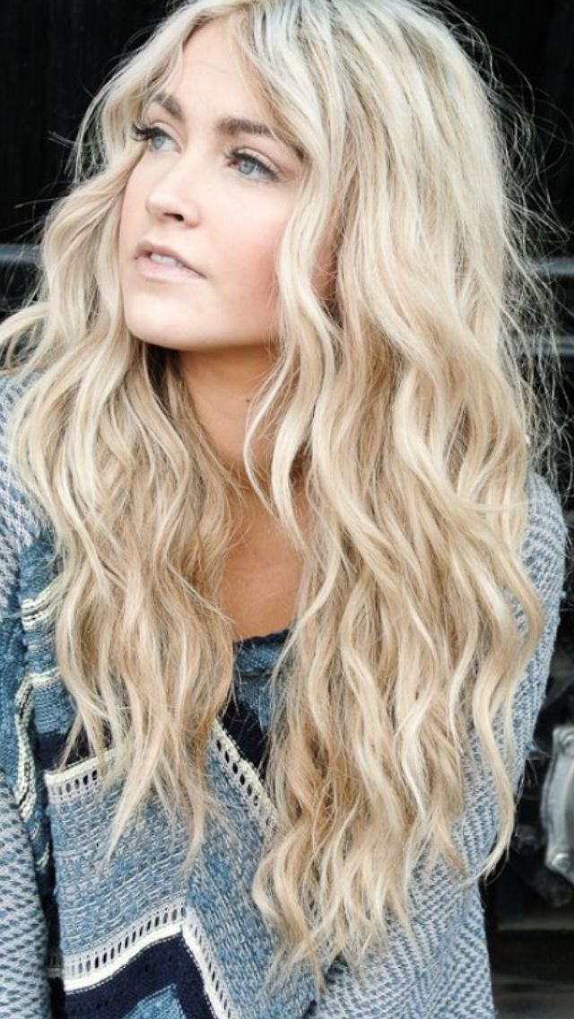 Blonde beach waves. I want this length, volume, and the curls. Blonde is just suiting. I don't know why I go dark...... I always want to go back.