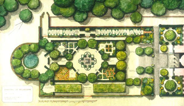 Photo garden in belg design dwg for Garden landscape plan