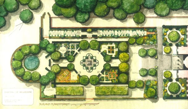 Photo garden in belg design dwg for Landscape floor plan
