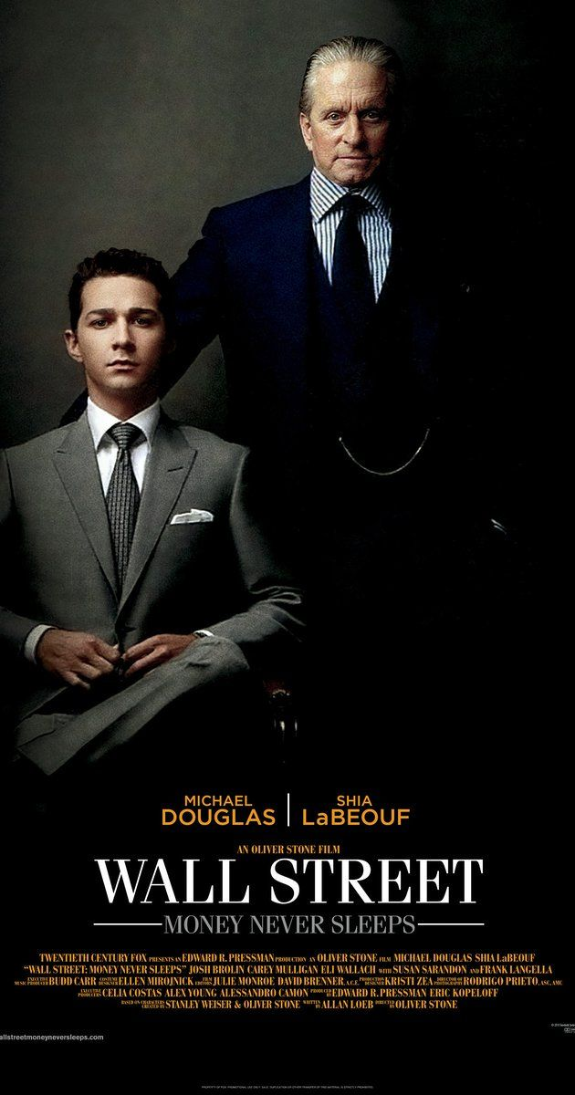 Directed by Oliver Stone.  With Shia LaBeouf, Michael Douglas, Carey Mulligan, Josh Brolin. Now out of prison but still disgraced by his peers, Gordon Gekko works his future son-in-law, an idealistic stock broker, when he sees an opportunity to take down a Wall Street enemy and rebuild his empire.