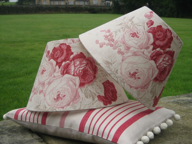 Empire lampshades in Kate Forman Roses fabric, plus a cushion in Red Ticking