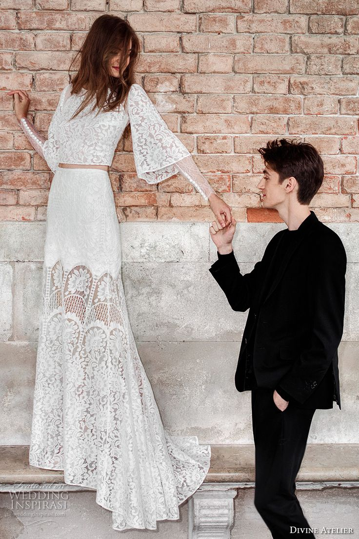 divine atelier 2017 bridal long bell sleeves full embellishment lace embroidered crop tp lace skirt bohemian romantic modified a line wedding dress sweep train (unnamed02) mv