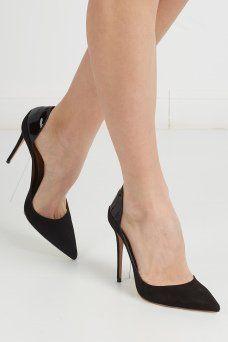 Кожаные туфли Fellini Pump Aquazzura. Изящные черные туфли-лодочки из замши с элементами лакированной кожи. Модель на высоком каблуке из линии итальянского бренда Aquazzura прекрасно дополнит вечерний или деловой гардероб. Такую пару можно носить с любой одеждой.
