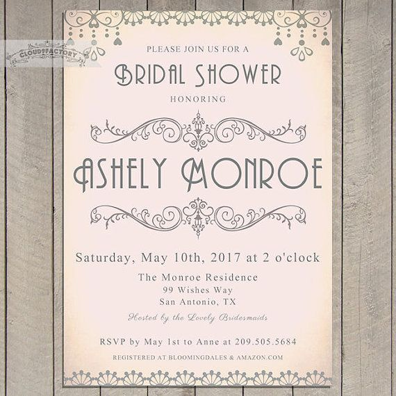 Blush Pink and Gray Bridal Shower Invitations Digital Printable Invite Art Deco Elegant Vintage Style Bridal Brunch Luncheon Tea No.735    This