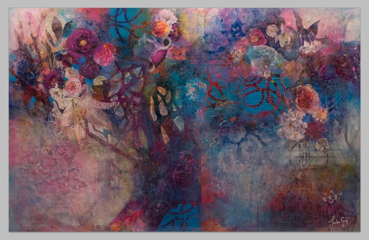"""Mixed Media Collage """"Tree of Life I"""".   Flowers/Trees."""