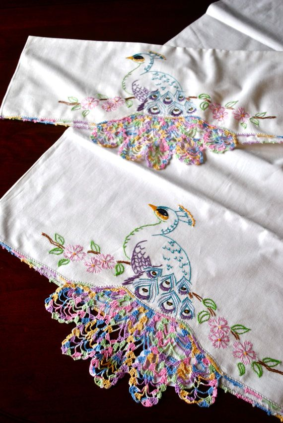 Pair of Peacock Embroidered Pillow Cases by JenkinsAntiques, $26.00
