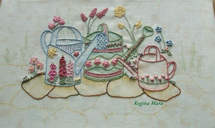 My English Country Garden Quilt - Hand embroidery with watercolour painting - block 4