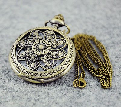 Vintage Copper Flower Engraved Locket Pocket Watch Necklace Chain Steampunk Gift