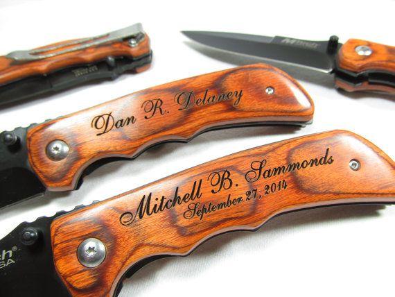 Set of 7 Engraved Wood Handle Pocket Folding Knife Personalized Groomsman Best Man Ring Bearer Usher Wedding Gift Contour Grip