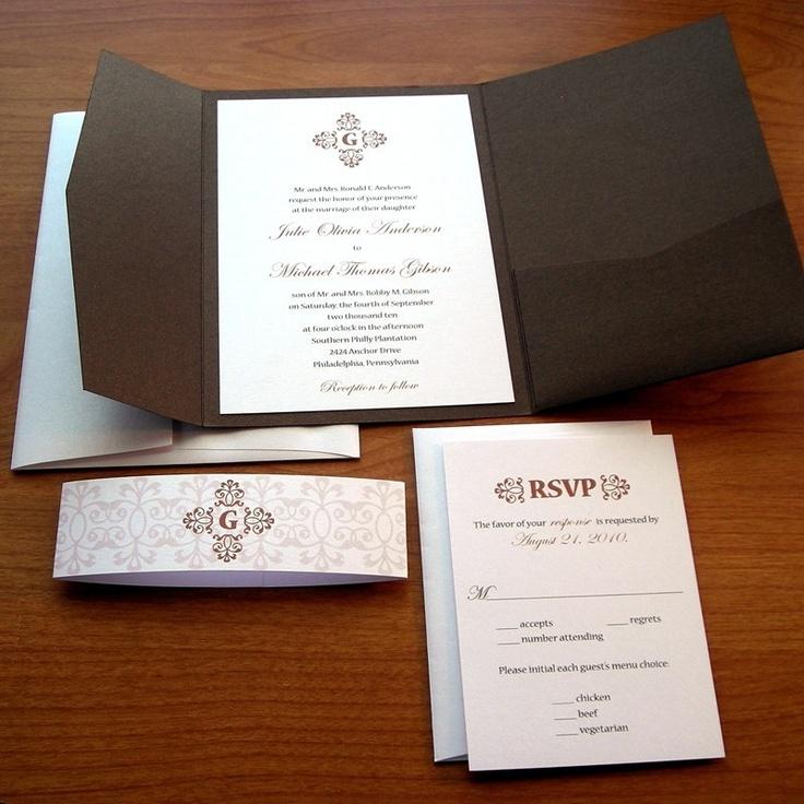 Formal Wedding Invitation Set Sample - Chocolate Brown Pocket Invitation - Classic Wedding Suite. $5.30, via Etsy.