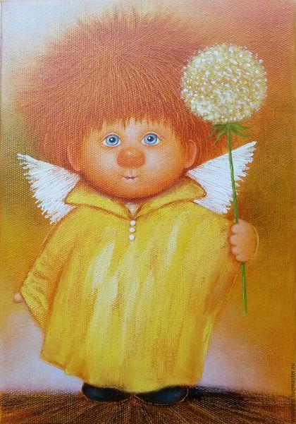 """Люди, ручной работы. Ярмарка Мастеров - ручная работа. Купить """"Солнечный ангел"""". Картина маслом.. Handmade. Солнечный ангел, ангелочки"""