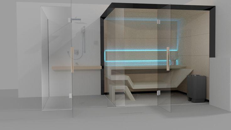 Sauna Modern Line z prysznicem - wizualizacja