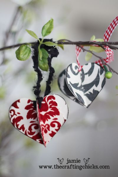 "Ornaments - how sweet these are!  A person could make a ""Valentine Tree"" with these!  Spray paint some branches white, place in a small decorative urn that's chippy, hang hearts made from vintage papers and wow!"