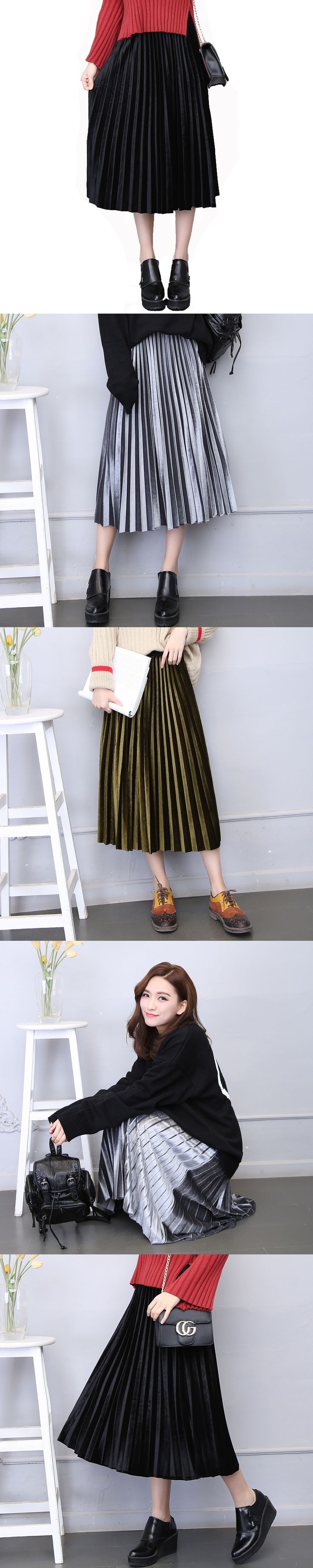 2017 spring women metal color elastic waist shiny  pleated skirt female femme gold velvet bust a-line skirt