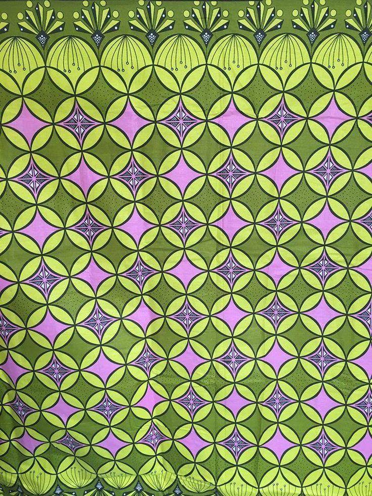 tissu wax coton kente 116 de largeur motifs géométriques.