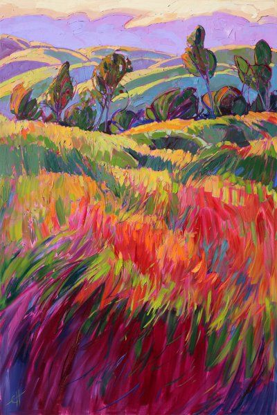 "Rolling hills of Paso Robles ""Color Bank"" - oil by ©Erin Hanson http://erinhanson.com/i-16632688-color-bank.html"